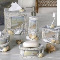 At The Beach - 7 Piece Resin Bathroom Accessory Set - Nautical Driftwood