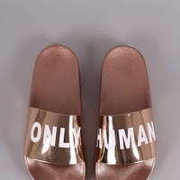 Qupid Only Human Metallic Slide Sandal