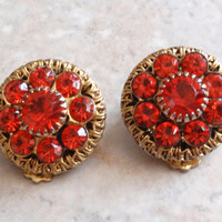 Hyacinth Orange Earrings Clip Ons Round Prong Set Center Vintage 030515SC