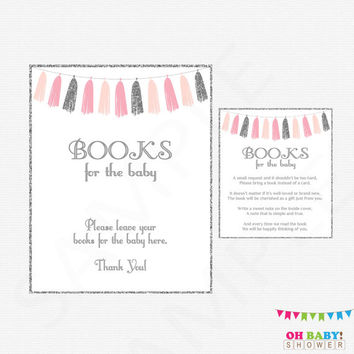 Pink and Silver Baby Shower, Book Request, Bring a Book Instead of a Card, Printable, Baby Girl, Pink Gray, Silver Glitter, Tassels, TASPS