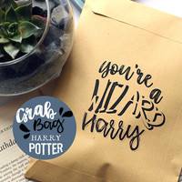 Harry Potter Grab bag - Gift bags filled with several items, Gryffindor, Hufflepuff, Slytherin, Ravenclaw and you're a wizard