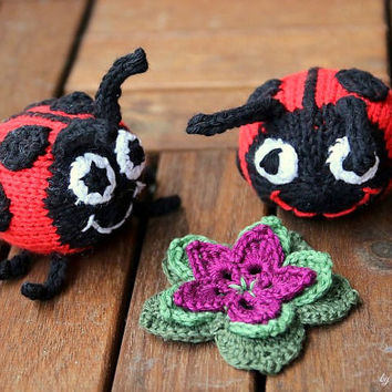 Marie the Ladybug, handknit from eco friendly cotton yarn, spring gift and decoration, easter, gift for kids and adults
