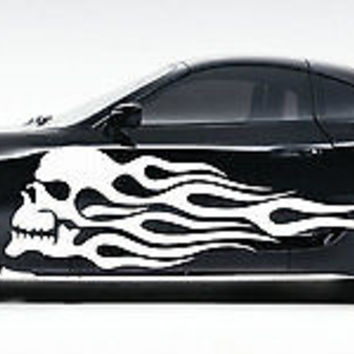 Flaming Skull Tattoo Tribal design car vinyl graphics tr055