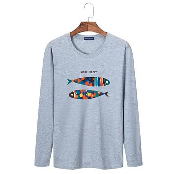Fish printing man funny cotton casual O-Neck t shirt long sleeve tee big loose style