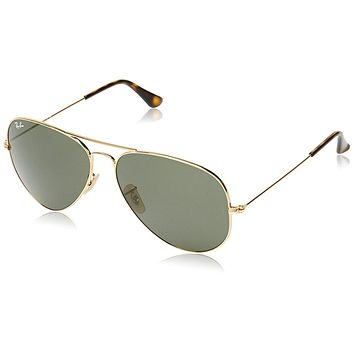 Ray-Ban 3025 Aviator Large Metal Non-Mirrored Non-Polarized Sunglasses, Gold/Dark Gree