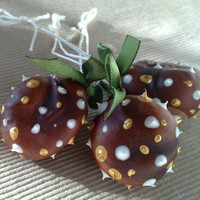 30% CHRISTMAS SALE: Natural / Real Horse Chestnut Ornaments with spiky dots; brown, green, gold and white, set of 3 (OOAK)