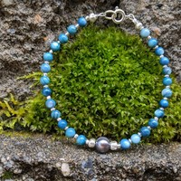 Blue pearl and sea shell bracelet