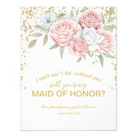 Be my Maid of Honor | Rustic Spring Garden Card