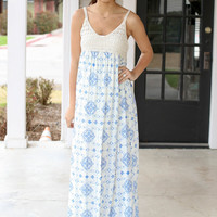 Mixed Up Maxi - Ivory and Blue