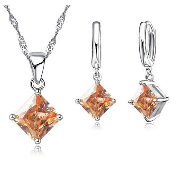 Impeccable Princess Cut Austrian Crystals Matching Necklace & Earrings Set