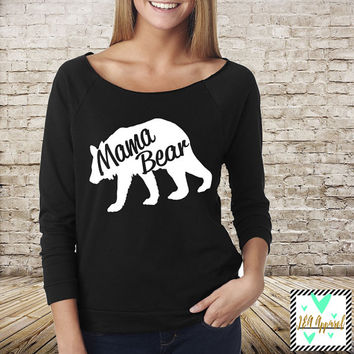 Mama Bear Shirt Slouchy Off The Shoulder Shirt, Mama Bear Shirt, Mommy to be Shirt, Baby Mama Shirt, Mom Shirt, Mommy Shirt, Mama To Be