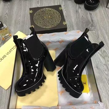 "LV Louis Vuitton Trending Women Fashion Black Brown ""Monogram Empriente"" Leather high top Heels Shoes Boots Winter Autumn best quality"