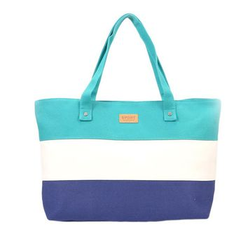 Canvas Multi-Striped Tote Bag