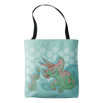 Triceratops Giving Flowers Tote Bag