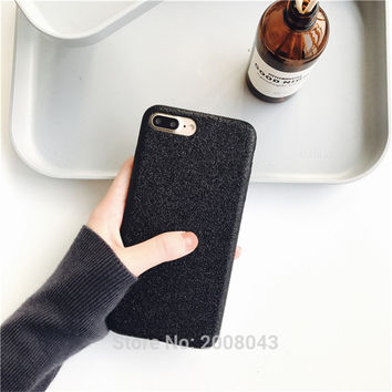 Flash Glitter PU Phone Case for iPhone 6s Black and Grey Silver Couple Soft Cover For iPhone 6 6Plus 7 7Plus Case for Woman/Man