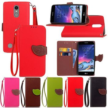 For LG K4 K5 K7 K10 Luxury Leather Cover Flip Wallet Phone Case For LG K8 2017 With Leaves Buckle And Lanyard Mobile Phone Shell