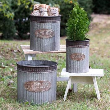 Galvanized Garden Canisters