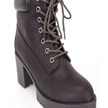 Black Lace Up Chunky Heel Ankle Booties Nubuck