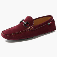 Suede Leather Metal Details Loafer Shoes