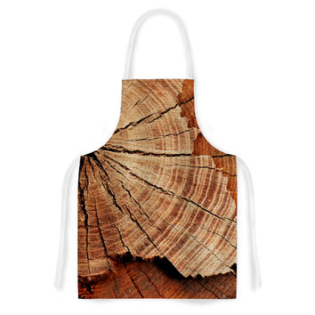 "Susan Sanders ""Rustic Dream"" Brown Wood Artistic Apron"