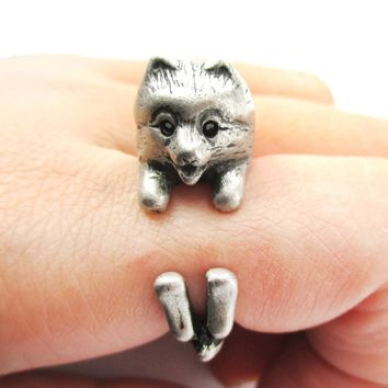 Realistic Pomeranian Pom Puppy Dog Shaped Animal Wrap Around Ring in Silver | US Sizes 4 to 8.5