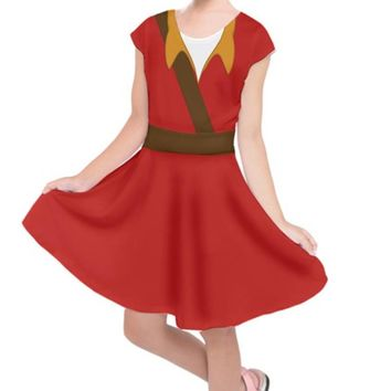 Kid's Gaston Beauty and the Beast Inspired Short Sleeve Dress