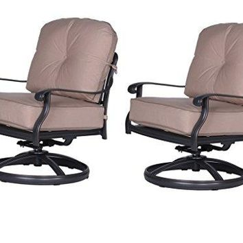 iPatio Athens Club Swivel Chair with Cushion (Set of 2) - Quality Outdoor Patio Furniture