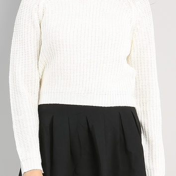Waffle Crop Knit Top