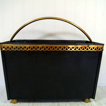 Vintage Black Hammered Metal Brass Trim Magazine / Album Holder - Large Rectangular Basket for Bath & Bedroom Storage - Art Deco Towel Bin