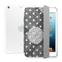 BEANBEANCASE Ultra Thin Magnetic Smart Cover & Clear Back Case for Apple iPad Air 2 with elegant floral pattern (Grey)