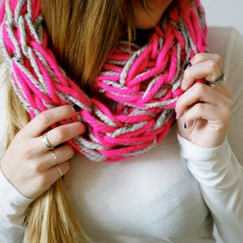 neon pink and heather grey chunky knit infinity scarf, pink womens winter scarf