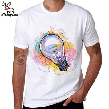 ZiLingLan Color Painted Bulb Design Cotton Men T shirt Short Sleeve Casual t-shirts Hipster Pattern Tees Cool Tops Us/Eur Size