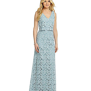 Vera Wang Lace Pop-Over Gown - Light Blue