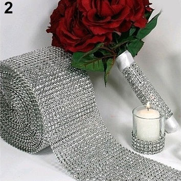 Wedding Party Decor 1 yard Diamond Mesh Trim Wrap Roll Sparkle Bling Cake Ribbon Strass [7983477063]