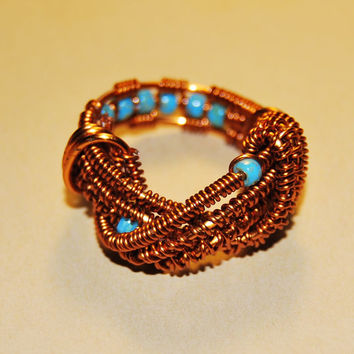 Wire Wrap Ring - Blue Turquoise Beads - Cooper Wire - Any Size - Jewelry - Rings