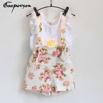 New fashion girls clothes set summer crown shirt with floral overet suit for baby girl children clothes baby girl suit