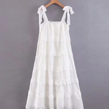 Cake layer loose big swing skirt strap long skirt holiday wind pleated dress