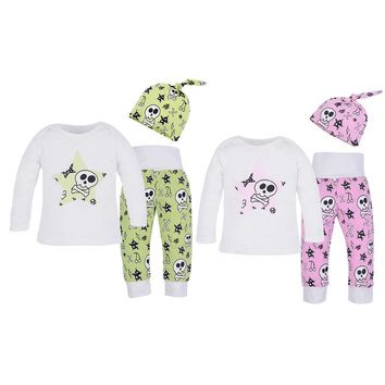 3pcs Baby Infant Skull Print Clothes Long Sleeve T-shirt+Long Pants+Hat Set Baby Boys Girls Clothes