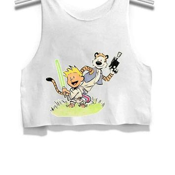 DCCKL83 Calvin And Hobbes Star Wars Womens Crop Tank Top