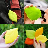 Water Bag New Portable Soft Silicone Leaf Shape Camping Hiking Home Water Drink Pocket Cup