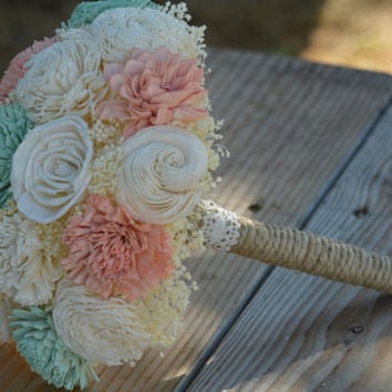 2 DAY SALE Medium Wedding Bouquet Ivory, Soft Mint and Lt Coral Blush Sola Flowers and dried Flowers Toss Flower Girl Bridesmaid Keepsake