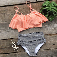 Swimwear Fashion Women Falbala High-waisted Bikini Set Push-Up Swimsuit Bathing