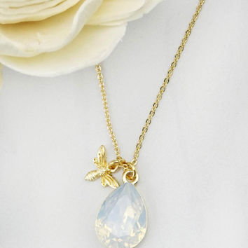 Bee Charm and Stone Necklace