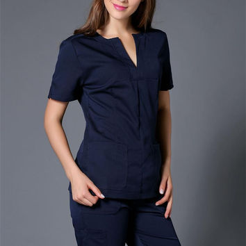 Summer women hospital medical scrub clothes set dental clinic and beauty salon nurse uniform  fashionable design slim fit
