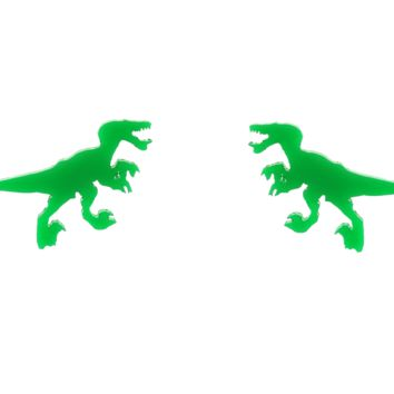 Velociraptor Earrings in Green