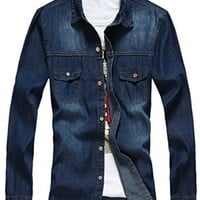 jeansian Men's Casual Slim Long Sleeves Denim Shirt MAD001