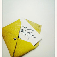 Leather Business Card Case Sunny Yellow by unemployeddesigner