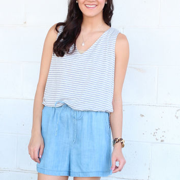 Stripe Mix Up Romper {Grey+Ivory}
