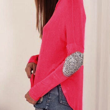 Rose Sequined Elbow Patch Asymmetric T-shirt
