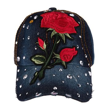 Women Fashion Baseball Cap Flower Embroidery Baseball Cap Rhinestone Size Adjustable Snapback Hat Solid Color Baseball Cap New